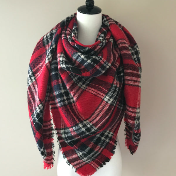 Red and Black Blanket Scarf