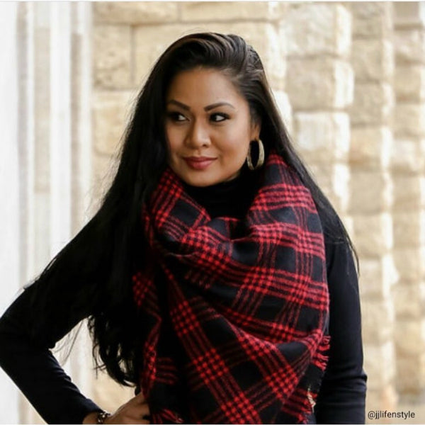 Black and Red Blanket Scarf