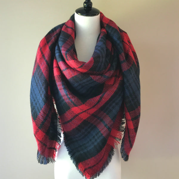 Red and Navy Blue Blanket Scarf