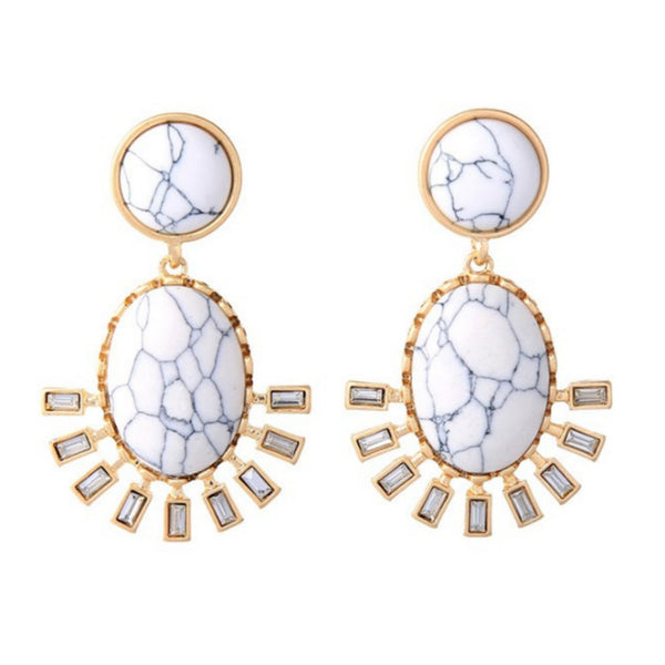 Roma Earrings - Marble Effect