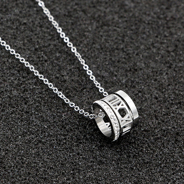 Roman Numerals Charm Necklace - Stainless Steel