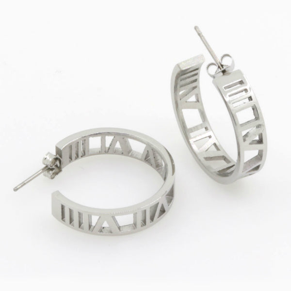 Roman Numerals Earrings - Stainless Steel