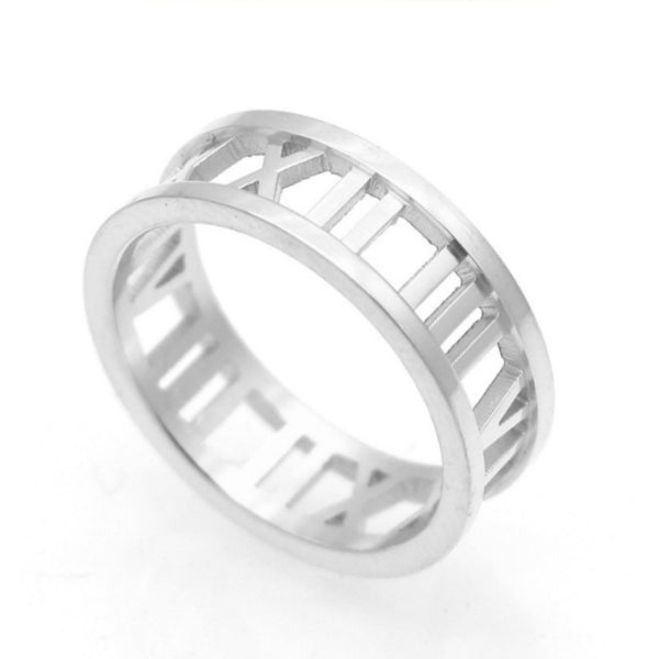 Roman Numerals Stainless Steel Ring