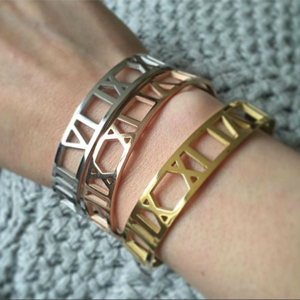 Roman Numerals Wide Bangle Bracelet - Stainless Steel