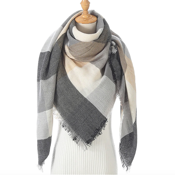 Rugged Gray Triangle Scarf