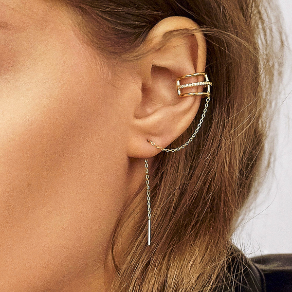 Sabrina Ear Cuff w/ Chain + Bar Studs Set