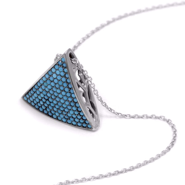 3D Triangle Necklace w/ Nano Turquoise - Sterling Silver