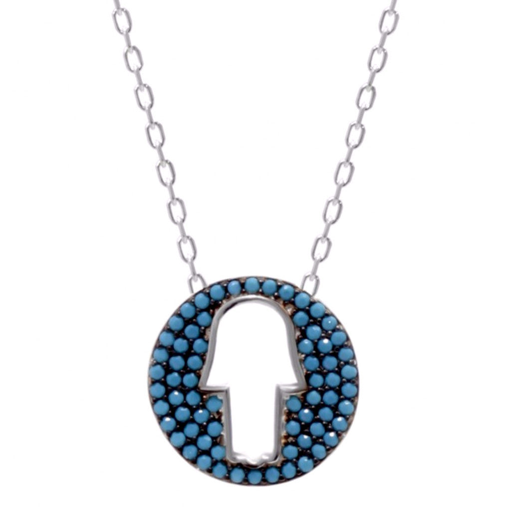 Hamsa Hand Cutout Necklace w/ Nano Turquoise - Sterling Silver