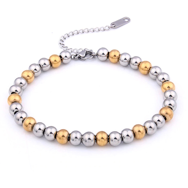 Silver + Gold Ball Bracelet - Stainless Steel