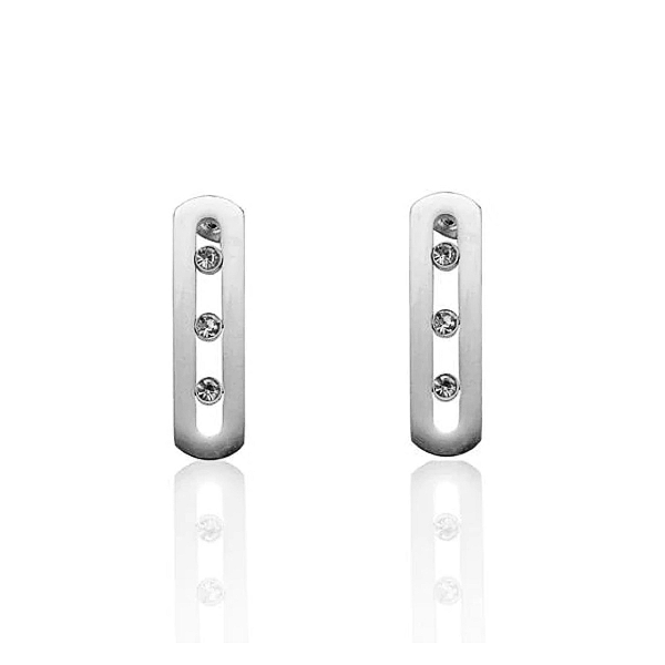 """Sliding"" Stones Earrings - Stainless Steel"