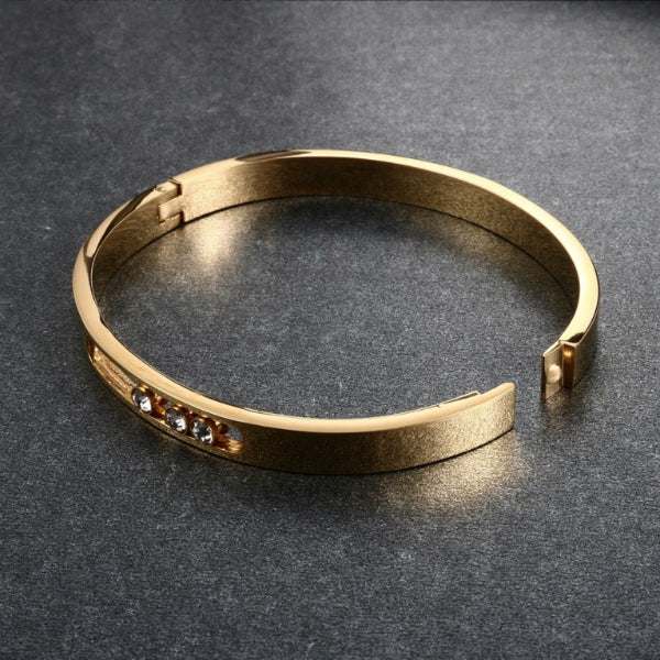 Sliding Stones Bangle Bracelet - Stainless Steel