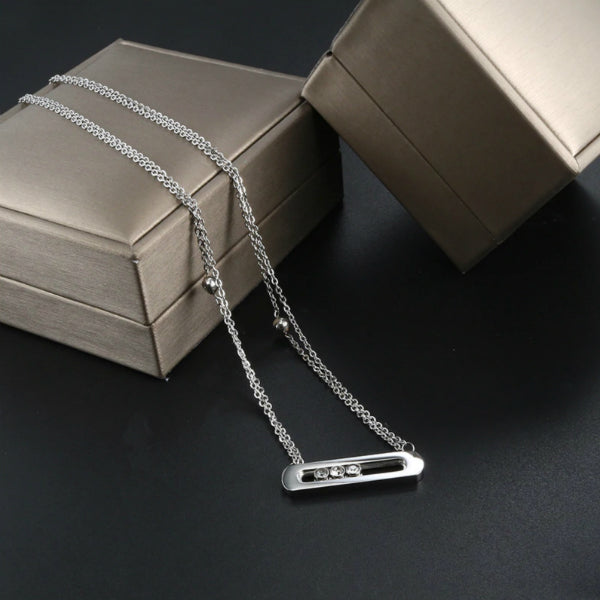 Sliding Stones Dainty Necklace - Stainless Steel