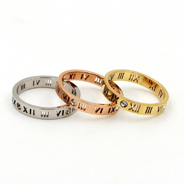 Roman Numerals Slim Ring - Stainless Steel