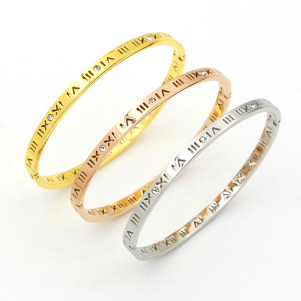 Slim Roman Numerals Bangle Bracelet - Stainless Steel