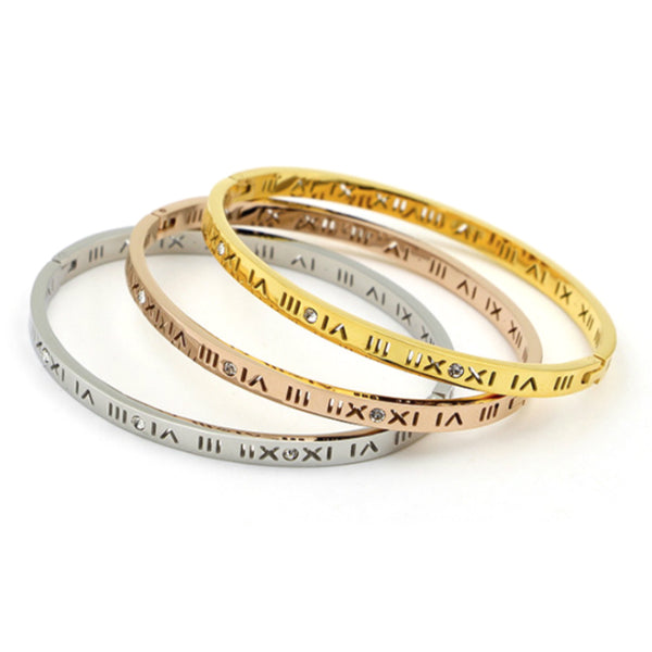 Slim Roman Numerals Bangle Bracelet Stainless Steel