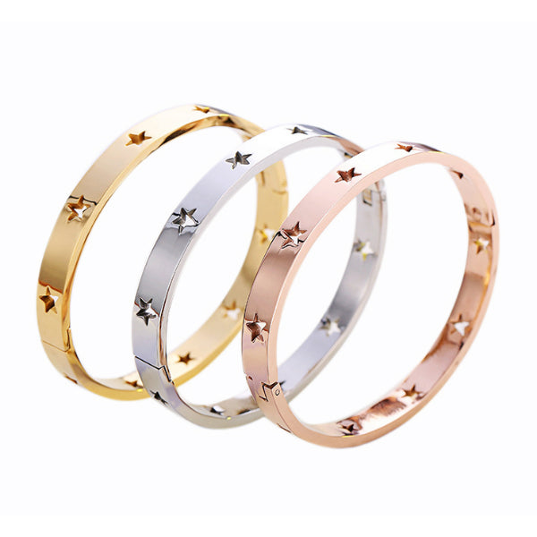 Star Bangle Bracelet - Stainless Steel