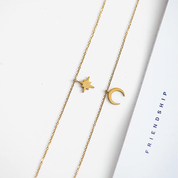 Star and Moon Layered Necklace - Stainless Steel