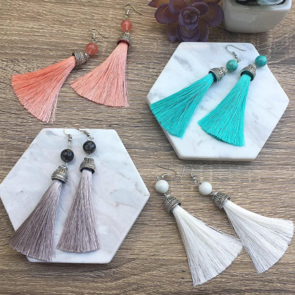 Stone + Tassel Earrings
