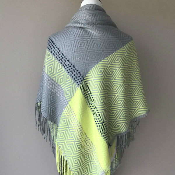 """Style me up"" Scarf - Gray and Neon Green"