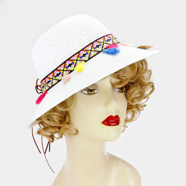Sun Hat w/ Short Brim - White