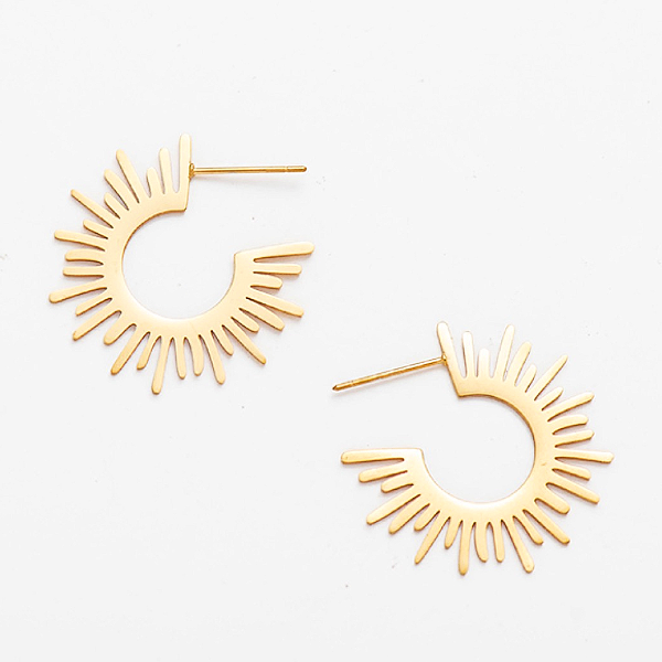 Sunburst Hoop Earrings - Stainless Steel