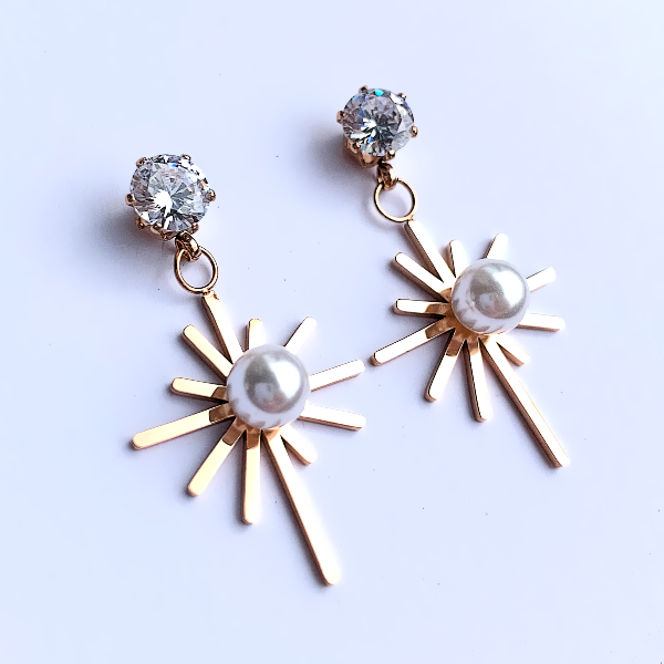 Sunburst Pearl Earrings - Stainless Steel