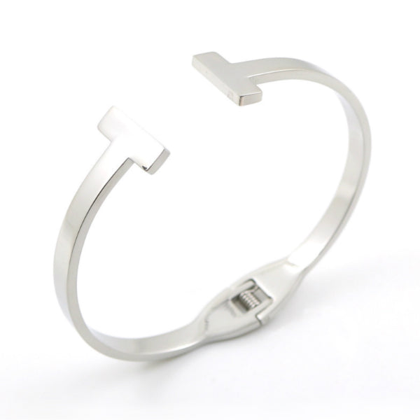 T Bangle Cuff Bracelet - Stainless Steel