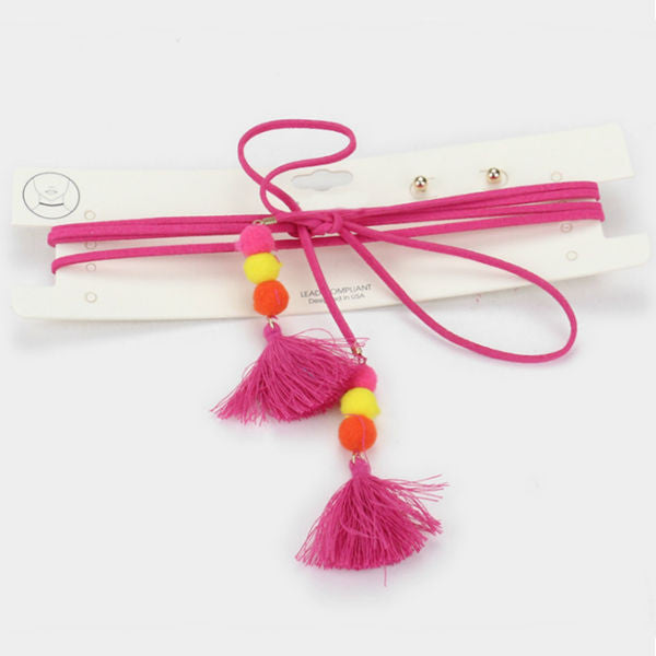 Tassel Choker Necklace & Earrings Set - Hot Pink