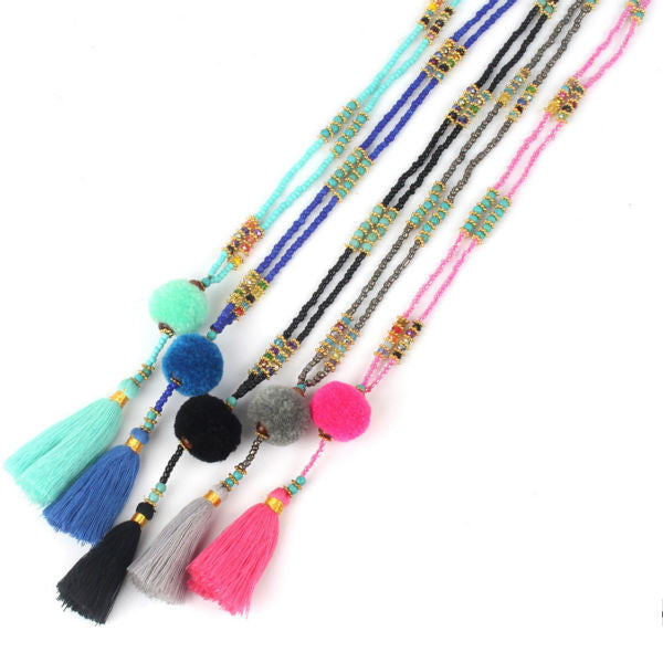 Tassel Lariat Long Necklace
