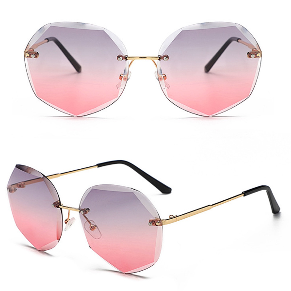 Tenerife Rimless Sunglasses - Gray/Pink