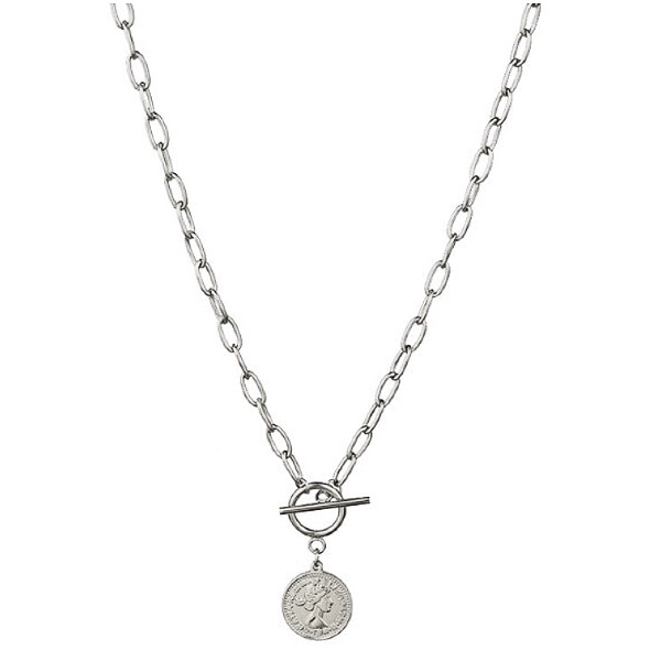 Coin Toggle Necklace - Stainless Steel