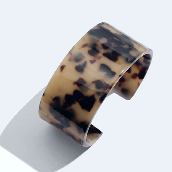 Tortoise Wide Resin Cuff Bracelet