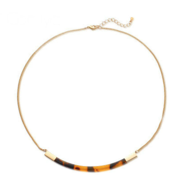Tortoise Bar Dainty Necklace