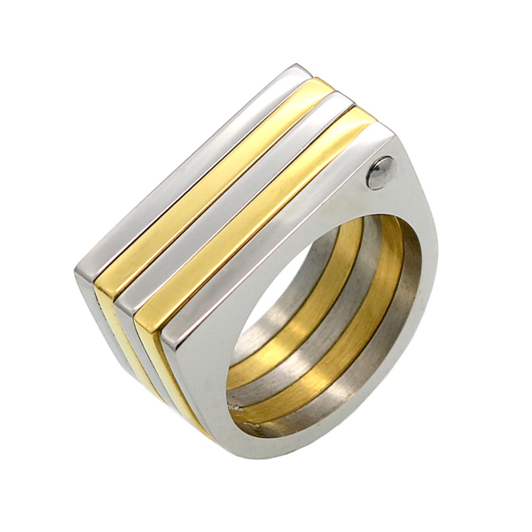 Two-toned Square Ring - Stainless Steel