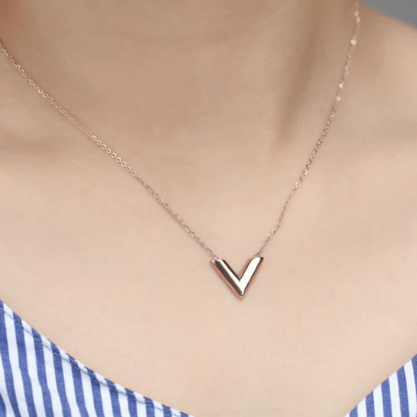 Valentina V Dainty Necklace - Stainless Steel
