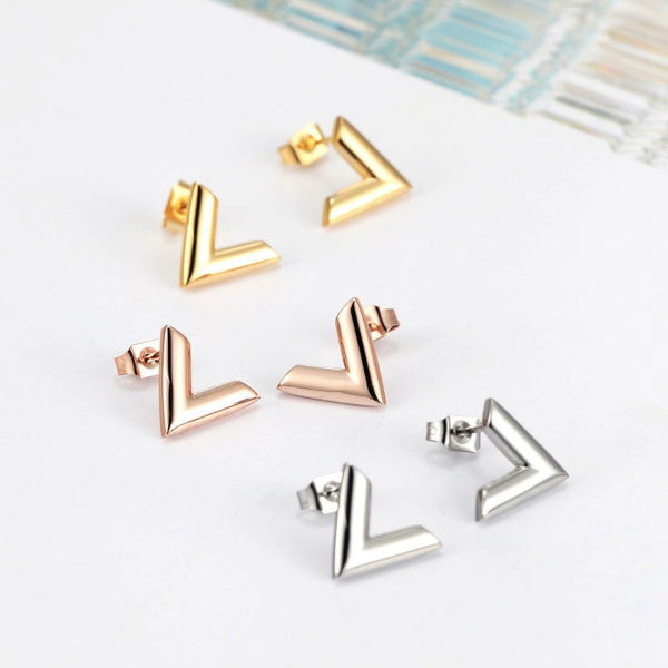 Valentina V Earrings - Stainless Steel