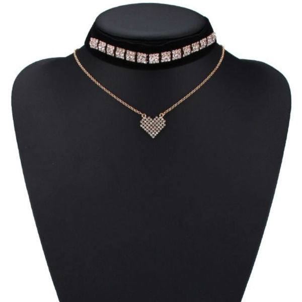 Velvet Choker + Necklace Set