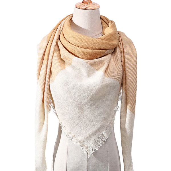 White and Yellow Triangle Scarf