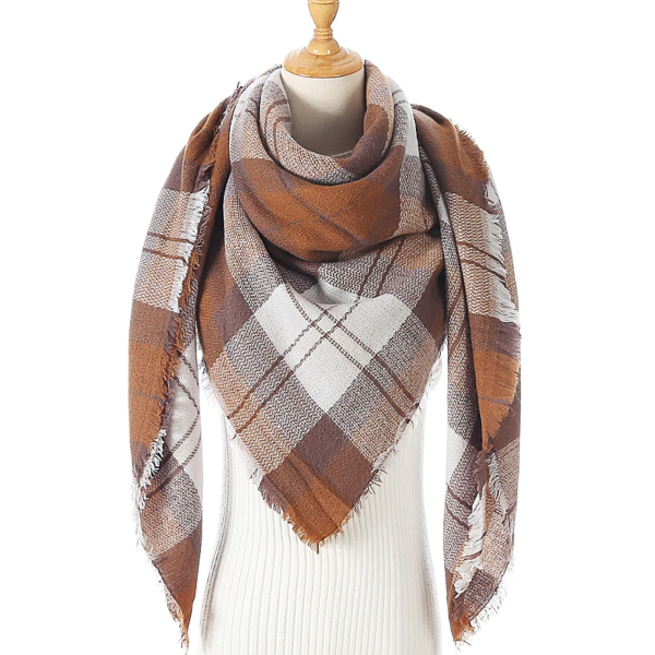 Brown and White Triangle Scarf