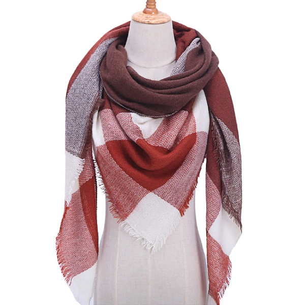 White, Brown and Burgundy Triangle Scarf