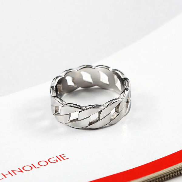 Wide Link Ring - Stainless Steel