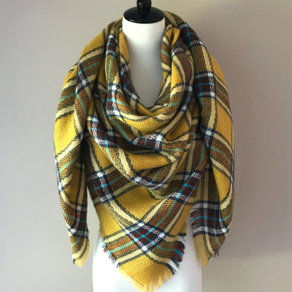 Yellow and Brown Blanket Scarf