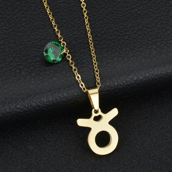 Zodiac Dainty Necklace w/ Stone - Stainless Steel