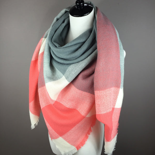 Coral and Gray Blanket Scarf