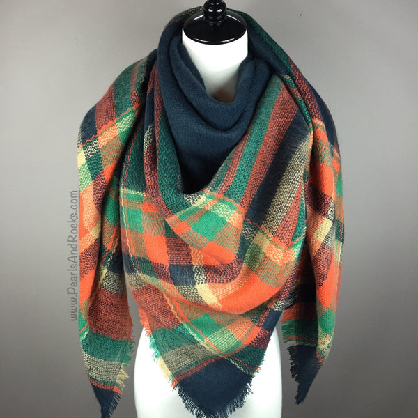 Navy Blue and Orange Tartan Blanket/Triangle Scarf