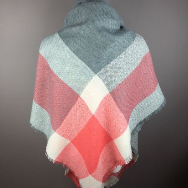 Coral and Gray Blanket/Triangle Scarf