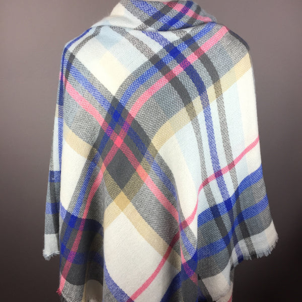 White and Blue Tartan Blanket Scarf