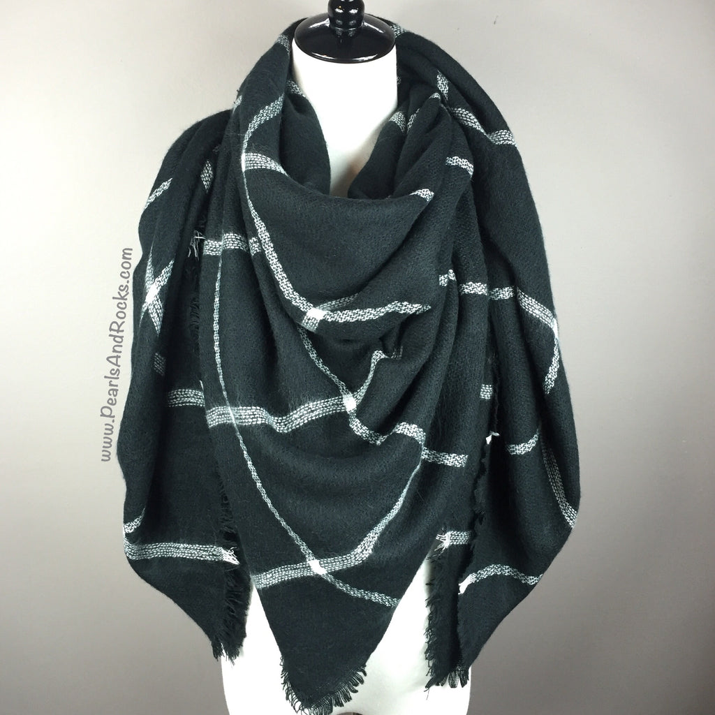 Black w/ White Blanket/Triangle Scarf