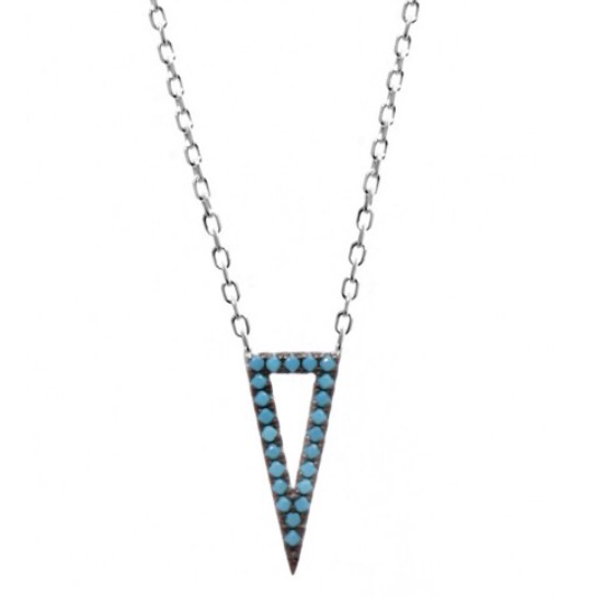 Triangle Necklace w/ Nano Turquoise - Sterling Silver
