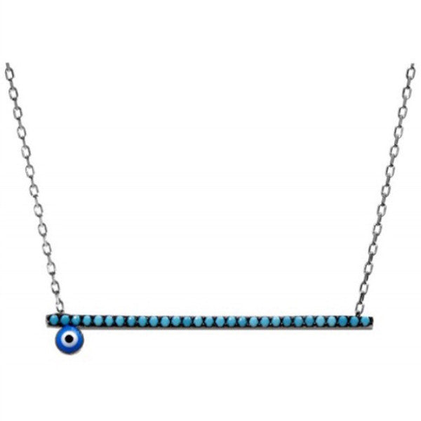 Evil Eye Bar Necklace w/ Nano Turquoise - Sterling Silver